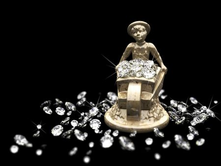 a lot of diamonds and marble statuette  photo