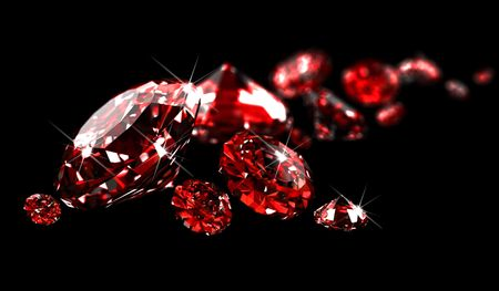 Rubies on black surface  Stock Photo