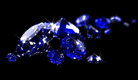 gemstones: Saffieren op zwarte oppervlakte