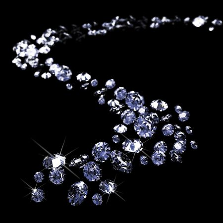a lot of diamonds, scattering across the black Stock Photo - 6228528