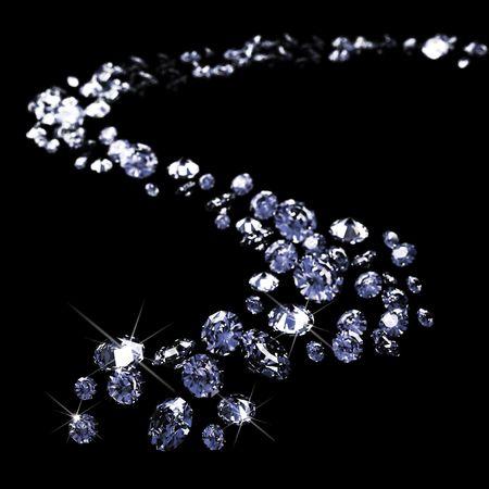 un lote de diamantes, dispersión a través del negro  Foto de archivo
