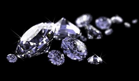 diamante negro: Diamantes en superficie negra  Foto de archivo