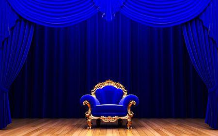 blue velvet curtain and chair  photo