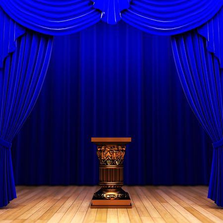 blue velvet curtain and Pedestal  photo