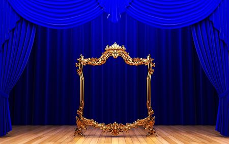 blue curtains, gold frame  photo
