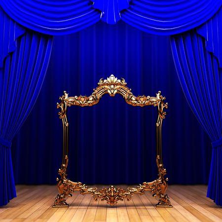 blue curtains, gold frame  photo