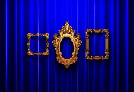 blue curtains, gold frame Stock Photo - 6251196
