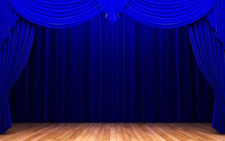 blue velvet curtain opening scene  photo