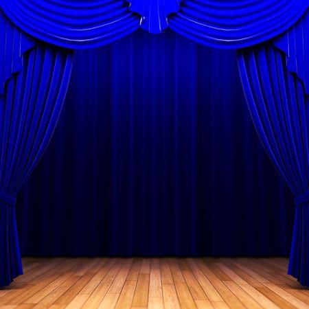 auditorium: blue velvet curtain opening scene  Stock Photo