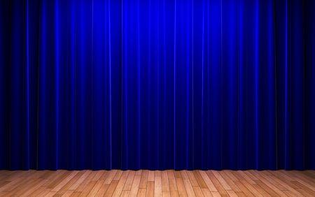 opulence: blue velvet curtain opening scene  Stock Photo