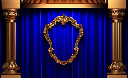 blue curtains, gold columns and frame  photo