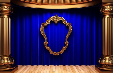 opulent: blue curtains, gold columns and frame