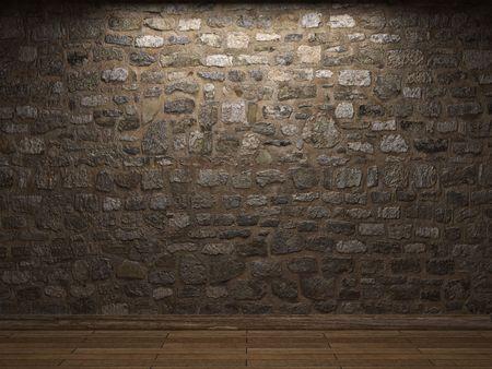 illuminated stone wall Stock Photo - 6263926