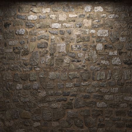 illuminated stone wall  Stock Photo