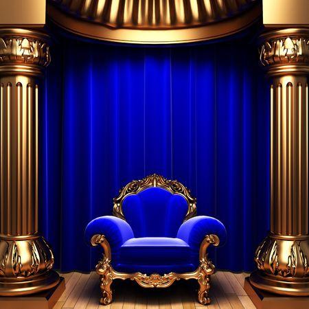blue velvet curtains, gold columns and chair