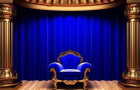 blue velvet curtains, gold columns and chair Stock Photo - 6263932