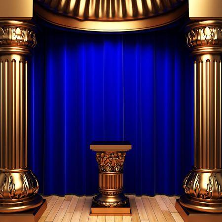 opulence: blue velvet curtains, gold columns and Pedestal