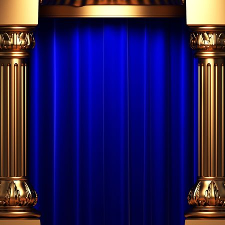 columns: blue velvet curtains behind the gold columns  Stock Photo