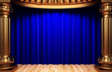 blue curtain: blue velvet curtains behind the gold columns  Stock Photo