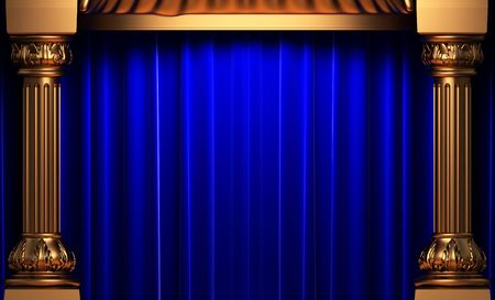 opulence: blue velvet curtains behind the gold columns  Stock Photo