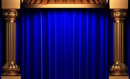 opulent: blue velvet curtains behind the gold columns  Stock Photo