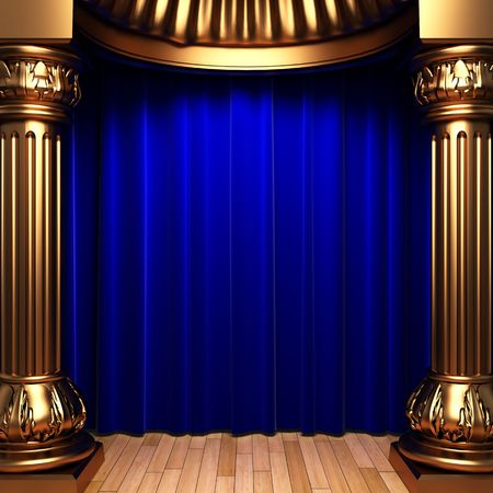 curtain theatre: blue velvet curtains behind the gold columns  Stock Photo