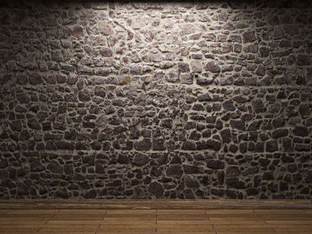 illuminated stone wall Stock Photo - 6269429