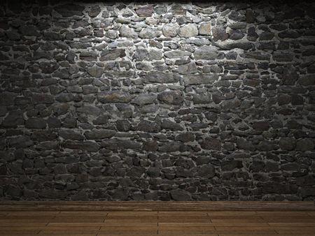 the ancient walls: illuminated stone wall Stock Photo