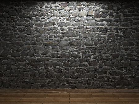 castle rock: Muro de piedra iluminada