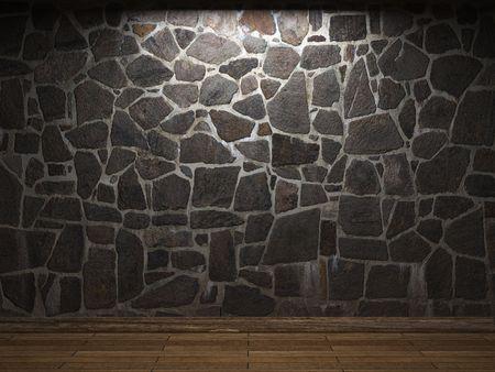 illuminated stone wall Stock Photo - 6269428