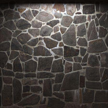 stonewall: illuminated stone wall Stock Photo