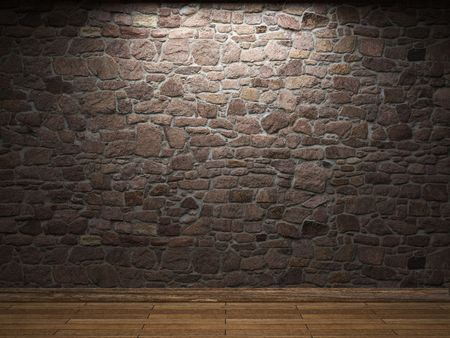 wall pattern: illuminated stone wall Stock Photo