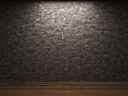 gothic castle: illuminated stone wall Stock Photo