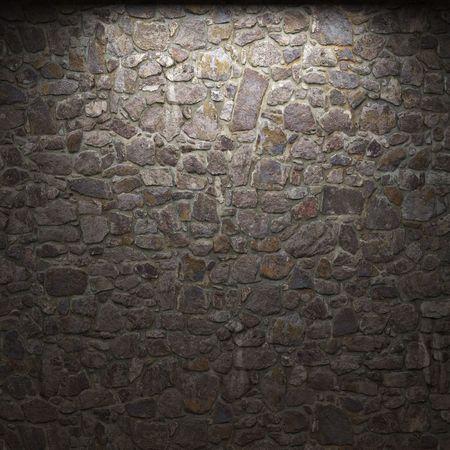 illuminated stone wall photo