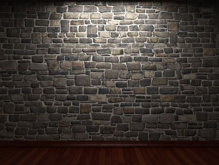 illuminated stone wall photo