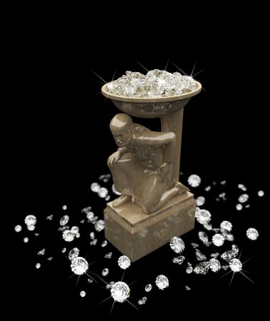 a lot of diamonds and statuette  photo