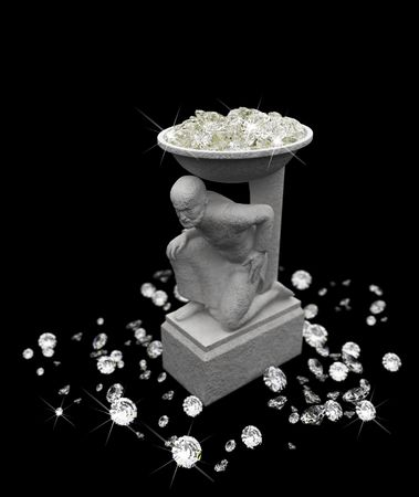 a lot of diamonds and statuette  Stock Photo - 6318368