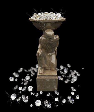 a lot of diamonds and statuette  Stock Photo - 6318366