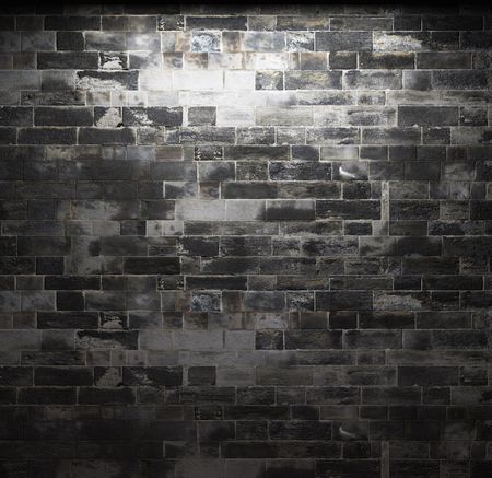 gothic design: illuminated brick wall