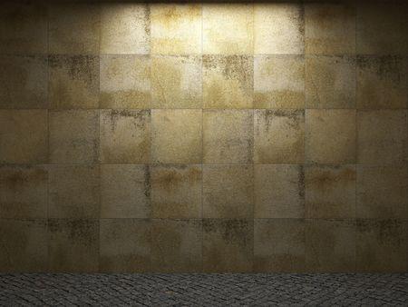 tilable: illuminated stone wall Stock Photo