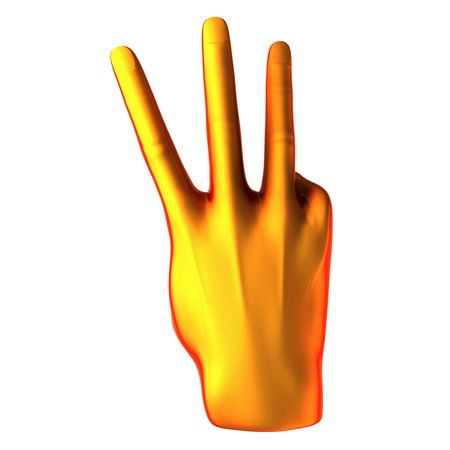 Counting orange hand isolated on white background photo
