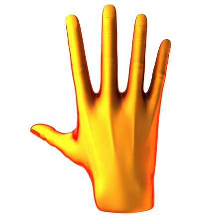 Counting orange hand isolated on white background Stock Photo - 6459736