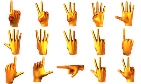 Counting orange hand isolated on white background photo