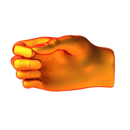 holding orange hand isolated on white background photo