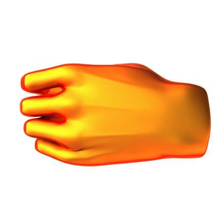 holding orange hand isolated on white background photo
