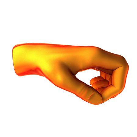 beg: holding orange hand isolated on white background Stock Photo