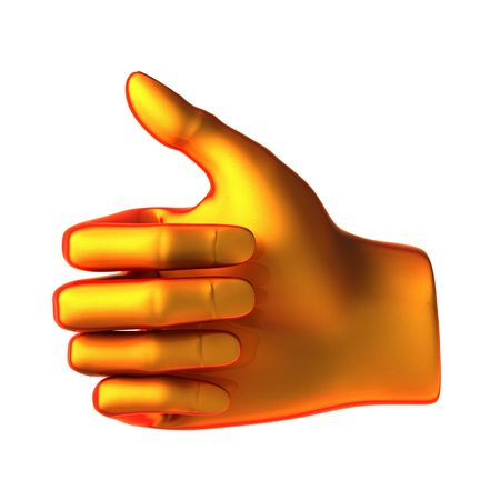 ok abstract orange hand isolated on white background Stock Photo - 6459765