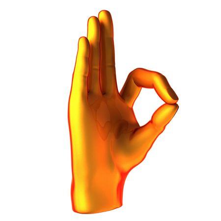 ok abstract orange hand isolated on white background photo
