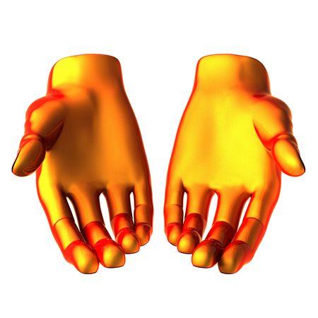 holding orange hand isolated on white background Stock Photo - 6459771