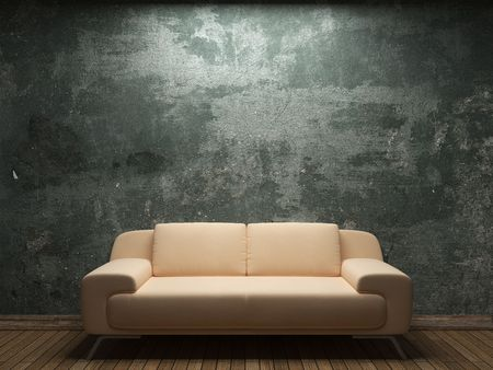 broken chair: old concrete wall and sofa